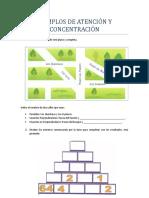 EJEMPLOS DE ATENCIÓN Y CONCENTRACIÓN