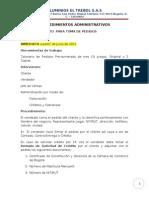 1°- PROCEDIMIENTO  PARA TOMA DE PEDIDOS