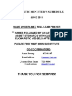 Eucharistic Ministers Schedule for June 2011