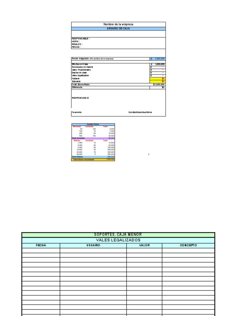 Formato arqueo for Formatos y controles para restaurantes gratis