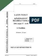 középszintű latin érettségi 2006 május - feladatlap