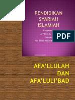 AF'ALULLAH & AF'ALULI'BAD