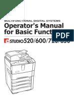 E-Studio 520, 600, 720, 850 Basic Function Operators Manual (UK)