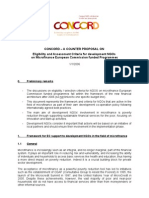CONCORD Proposal for Eligibility and Assessment Criteria for Micro Finance January 2006