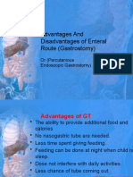 Advantages and Disadvantages of Enteral Route (Gastrostomy