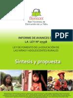 INFORME DE AVANCES DE LA LEY N° 27558