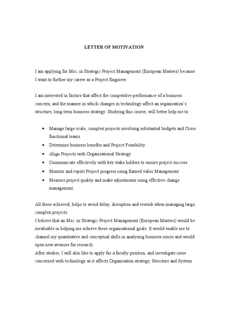 Letter of Motivation   Project Management   Strategic Management