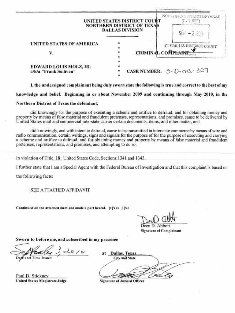 United States of America v. Edward Louis Molz, III | Fraud | Affidavit