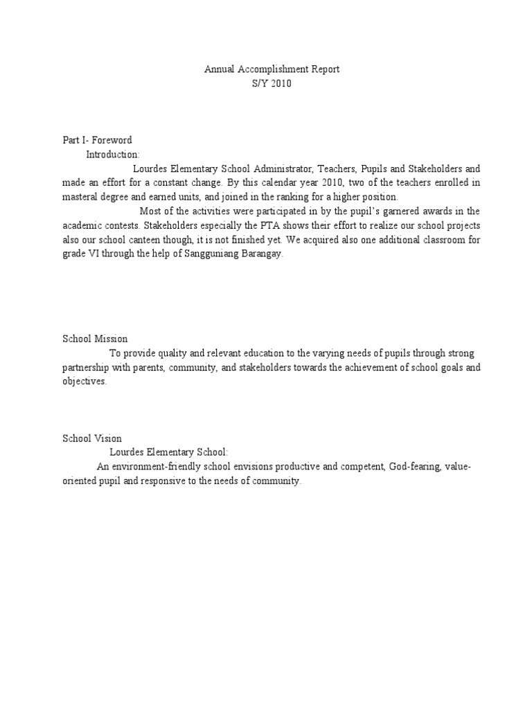 Annual Accomplishment Report.docxxxxxxx | Classroom | Primary Education  Accomplishment Report Format