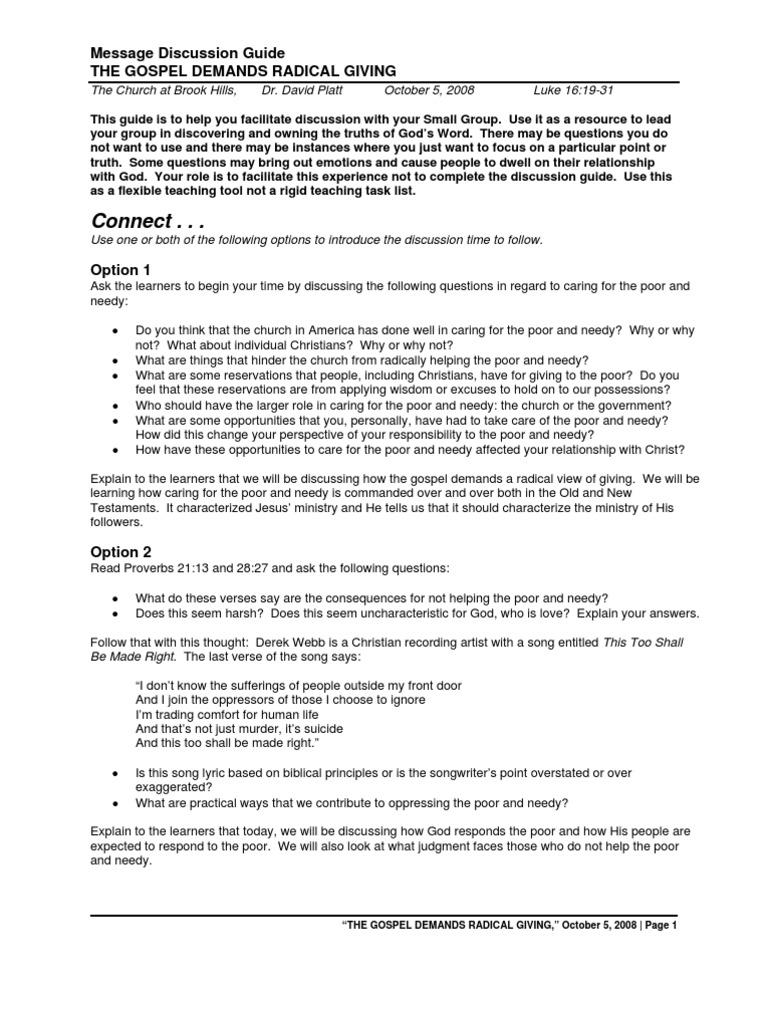 5 radical the gospel demands radical giving study guide david rh scribd com radical study guide chapter 9 radical candor study guide