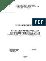 Studiu Privind Organizarea Contabilitatii Imobilizarilor Corporale La SC Fotoxpress SRL