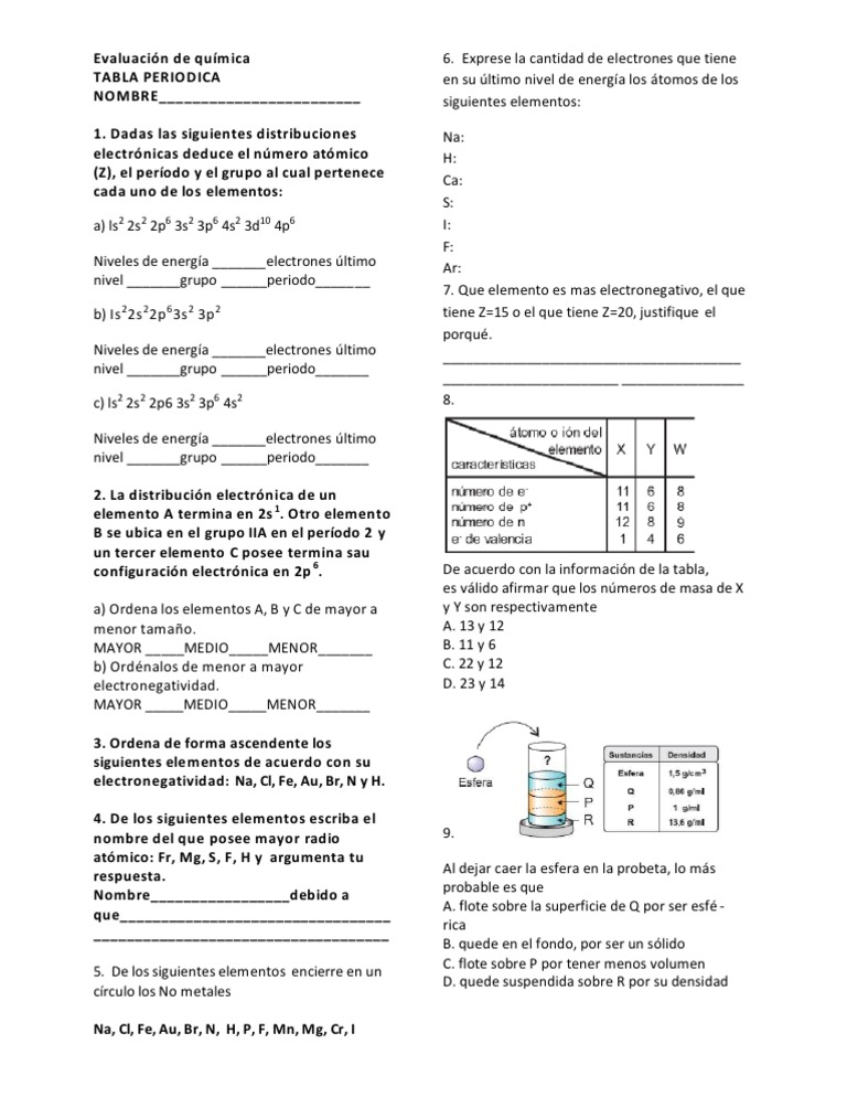 Evaluacion de quimica tabla periodica urtaz Choice Image