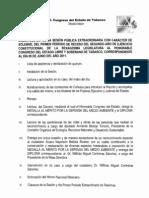 Orden Del Dia Sesion Extraordinaria Con Caracter de Solemne (5 junio)