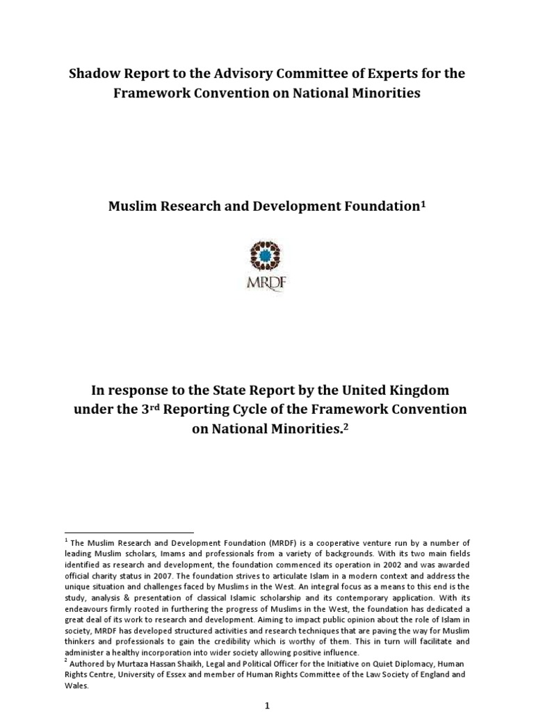 MRDF Shadow Report | Minority Group | Treaty