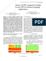 Generating Performance Analysis of GPU compared to Single-core and Multi-core CPU for Natural Language Applications