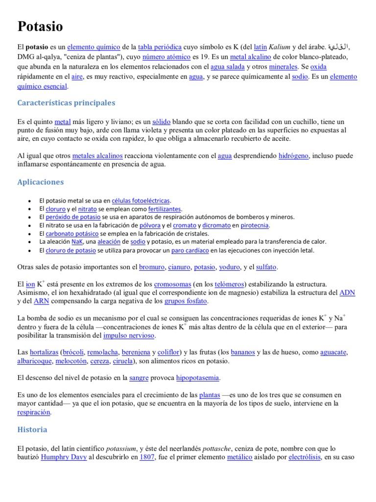 el potasio - Tabla Periodica De Los Elementos Quimicos Con Nombres En Latin