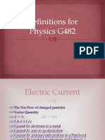 Definitions and Explanations for OCR Physics G482