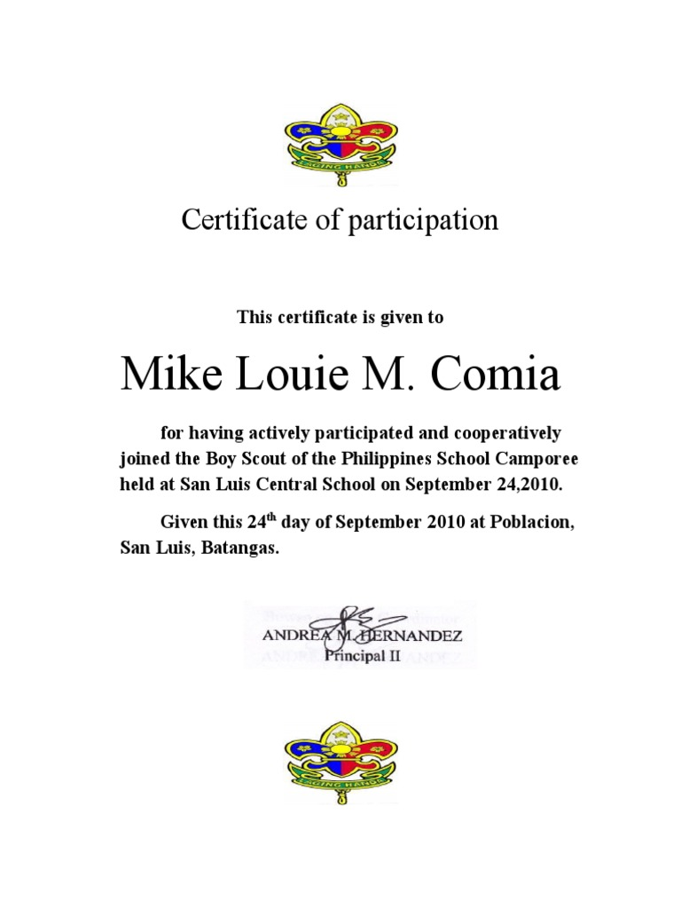 Eagle scout certificate template choice image templates example participation certificate template free eviction notice template taekwondo participation certificate design template personal 1510905590v1 taekwondo xflitez Gallery