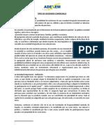 Tipos de Sociedades COMERCIALES EN EL PERÚ