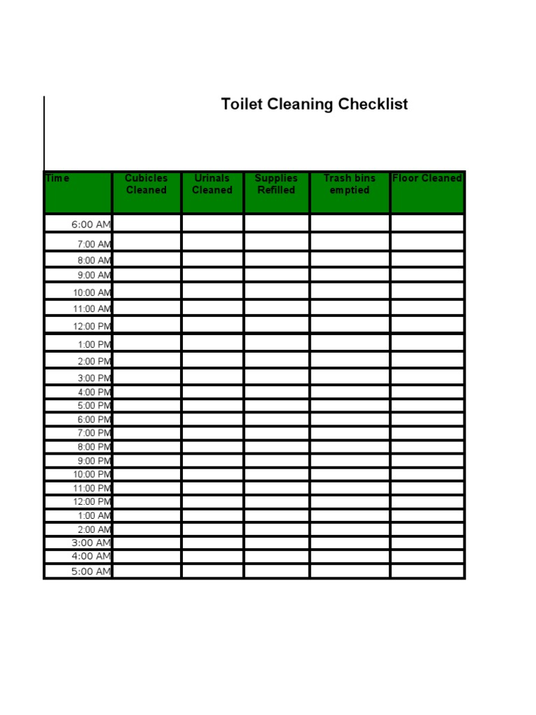 Great Toilet Checklist Template Photos - Entry Level Resume ...