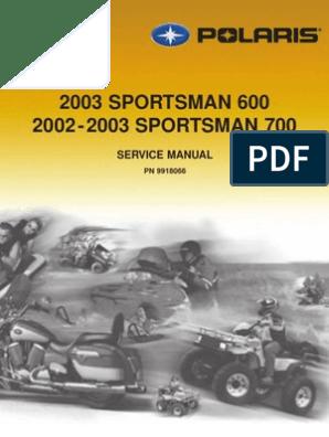 2002 Polaris Sportsman 700 Service Manual | Transportation