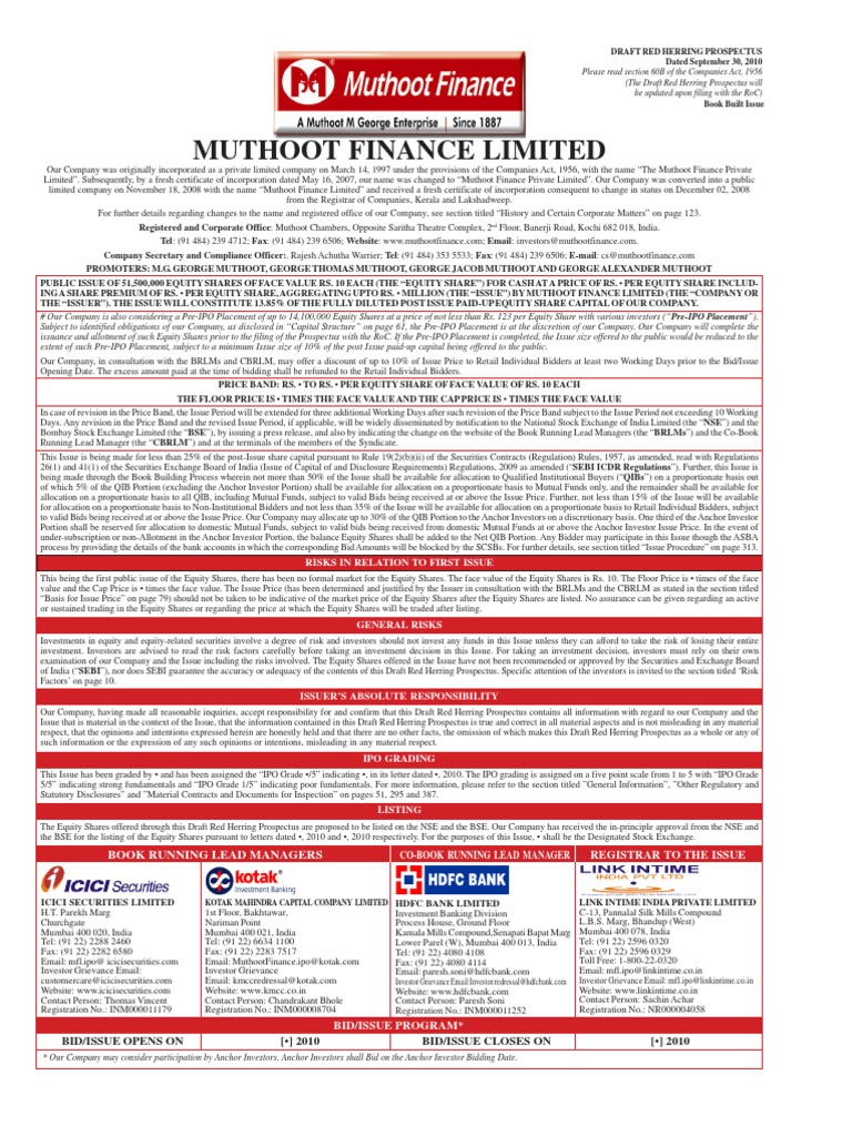 Muthhootdraft Securities Finance Stocks