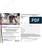 Netball Summer Camps Flier