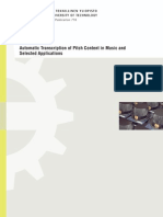 Automatic Transcription of Pitch Content in Music and Selected Applications [2008]