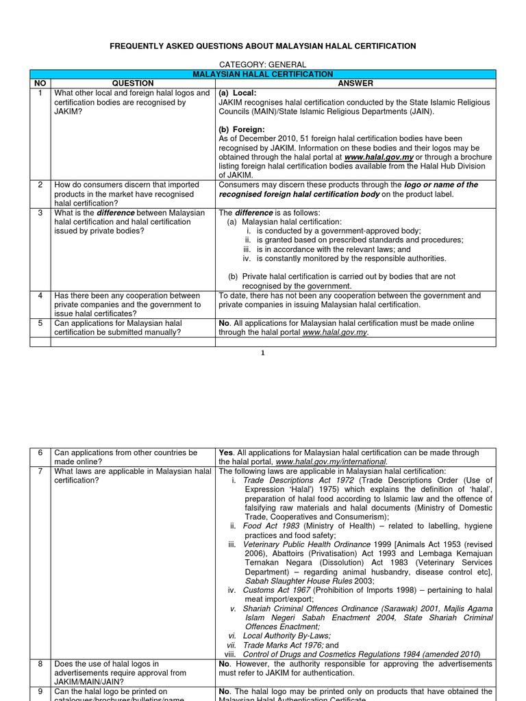 faq about malaysian halal certification slaughterhouse malaysia rh scribd com PPN Halal Certification Meet Certification Halal Meat