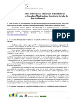 Perguntas e Respostas - Inscrições de Entidades nos Conselhos de Assistência Social_01 06 2011