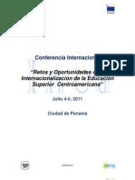 """Conferencia """"Retos y Oportunidades de la Internacionalización de la Educación Superior Centroamericana"""""""