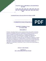 Constitucion Politica de La Republica de Honduras de 1982