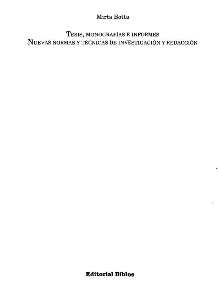 Botta Mirta,Tesis Monografias E Informes