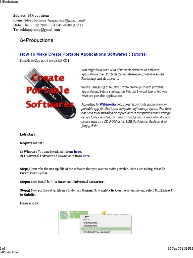how to make create portable applications softwares