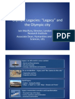 Olympic Legacy Symposium Legacy, Strategies and Policies