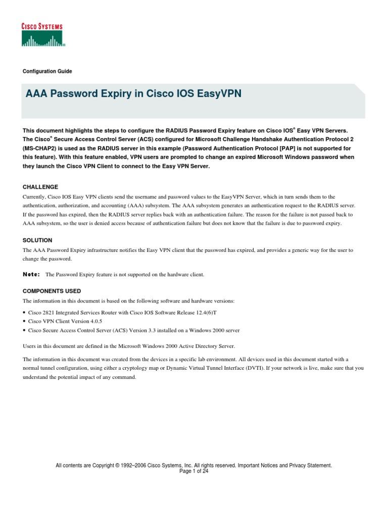 AAA Password Expiry in Cisco IOS EasyVPN | Radius | Virtual Private