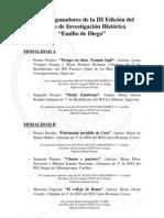 """TRABAJOS GANADORES III EDICIÓN PREMIO DE INVESTIGACIÓN HISTÓRICA """"EMILIO DE DIEGO"""""""