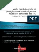 316 - Intégration institutionnelle des TIC, un pas à la fois !