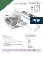 3026 Hot Laminator Spec Sheet