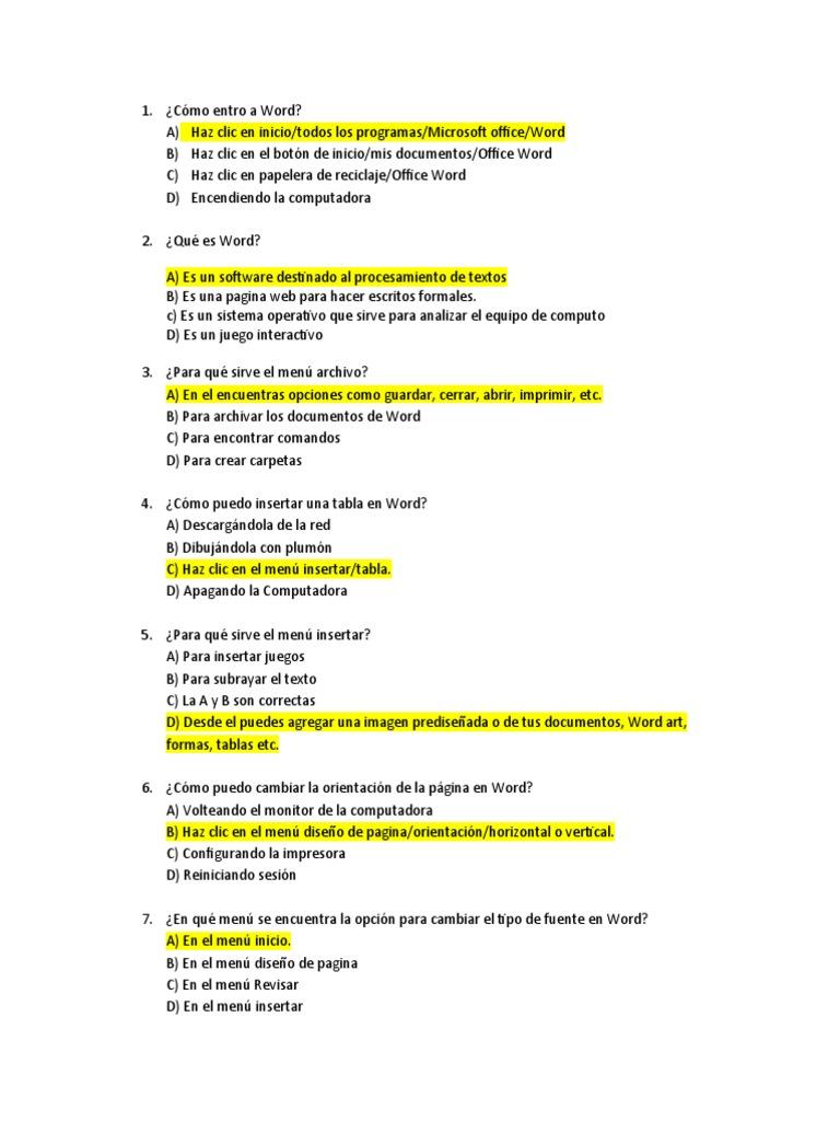 Preguntas de Word Examen Semestral
