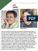 Les Verts aux Etats - double ticket féminin