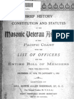 Brief History Constitution and Statutes of the Masonic Veteran Association of the Pacific Coast