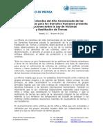 2011. C.p. Comunicado Observaciones Ley de Víctimas