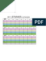 2011 Summer Schedule
