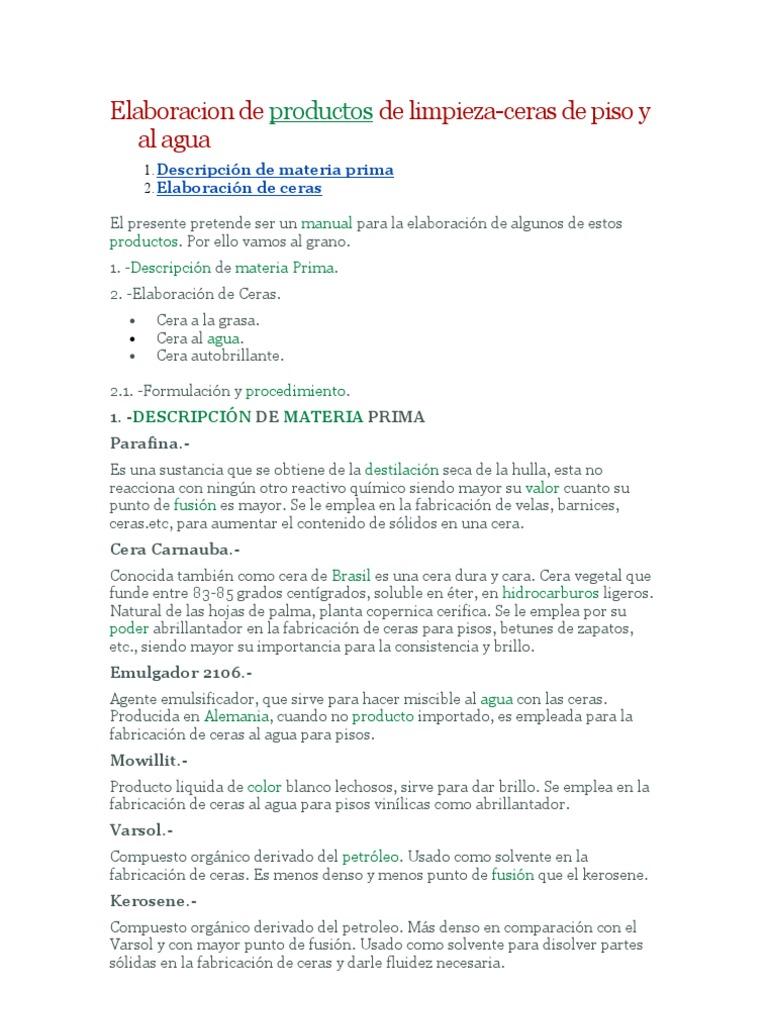 elaboracion de ceras On elaboracion de productos de limpieza pdf