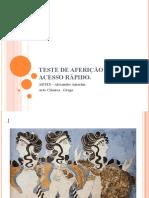 TESTE DE AFERIÇÃO  DE  ACESSO RÁPIDO