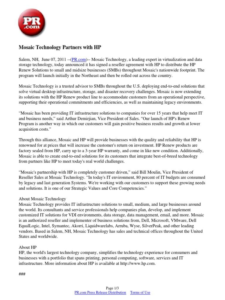 Mosaic Technology Partners With Hp Hewlett Packard Information