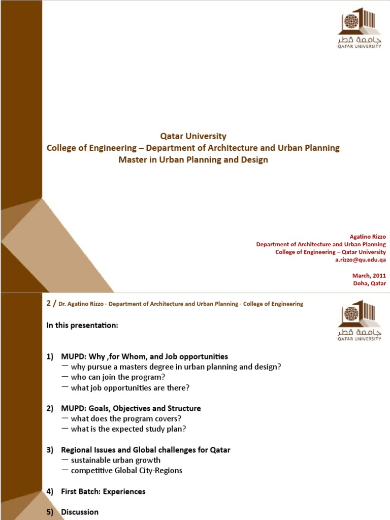 master in urban planning and design at qatar university doha