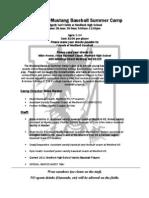 Mustang Summer Baseball Camp Info