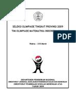 Soal Olimpiade Matematika Tingkat Provinsi 2009